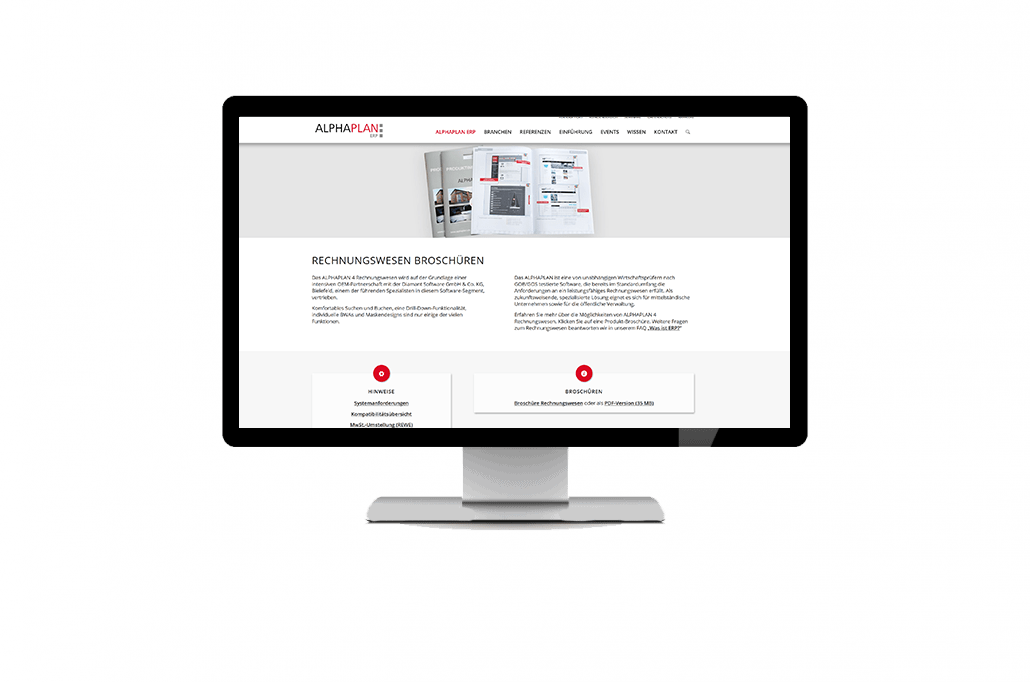 Monitor, auf dem die Broschüren-Seite von ALPHAPLAn Rechnungswesen zu sehen ist
