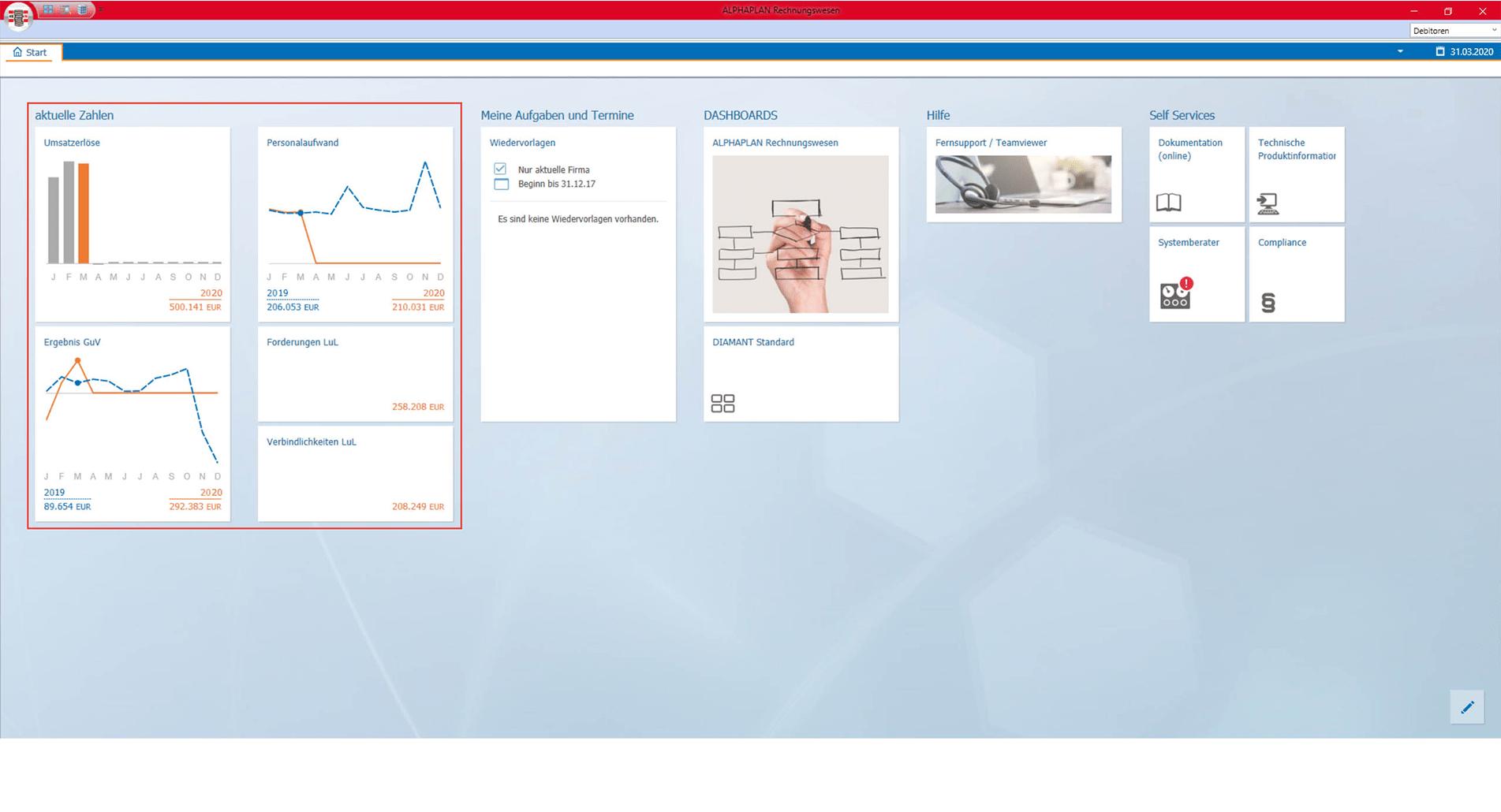 Screenshot Benutzeroberfläche Rechnungswesen
