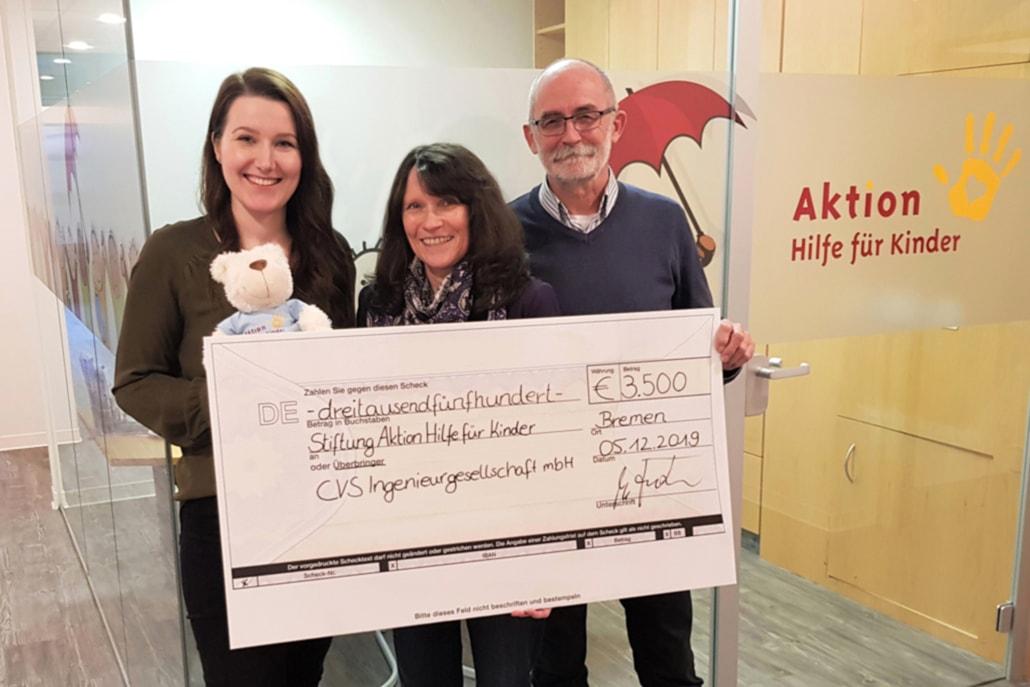 CVS Bremen Spendenübergabe Aktion Hilfe für Kinder