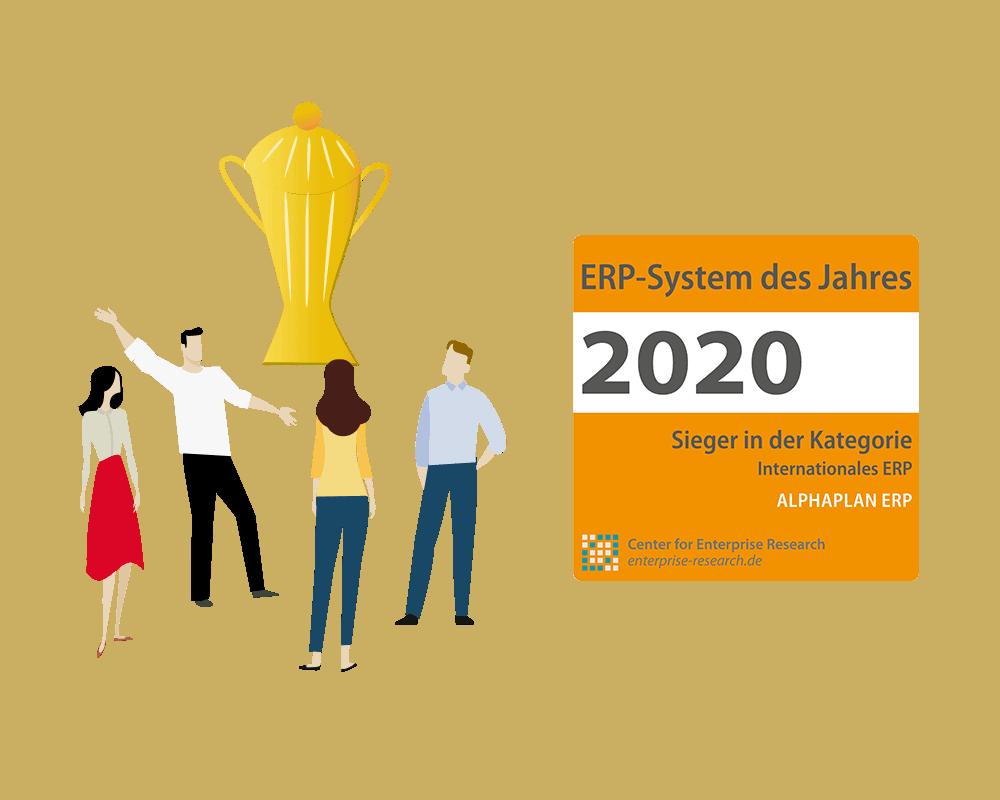 ALPHAPLAN ERP ERP-System des Jahres 2020 Siegel und Vektorgrafik