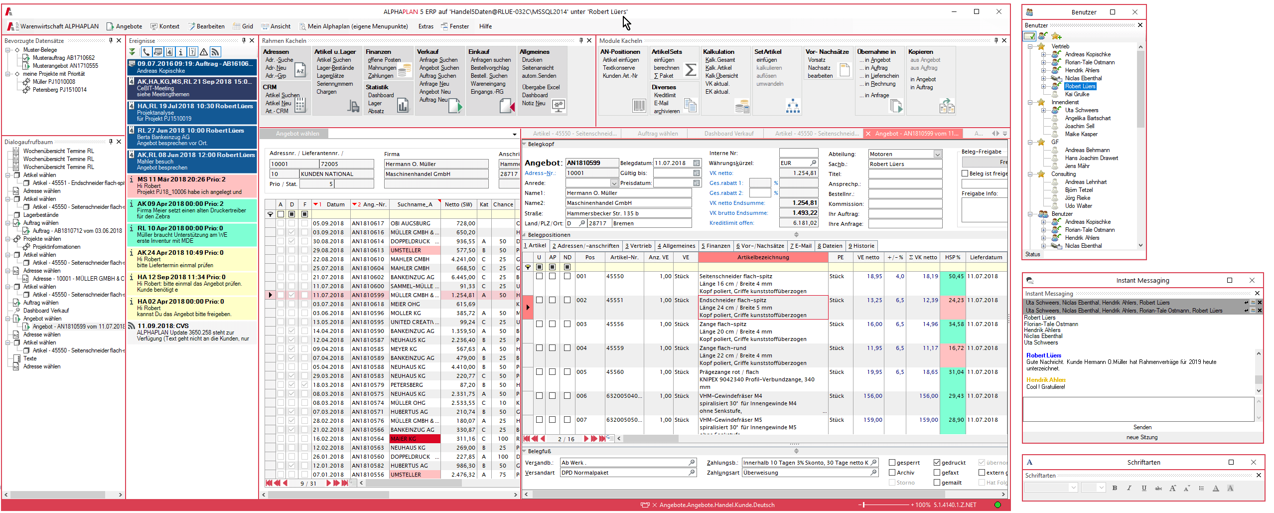 ERP-System User Interface